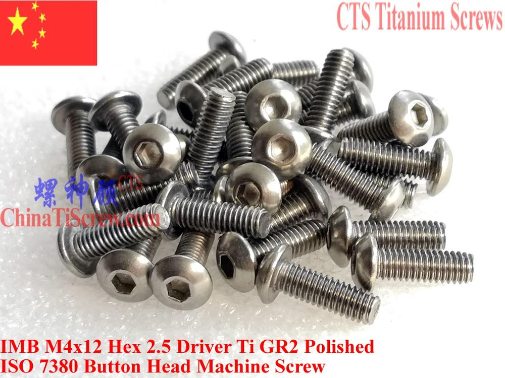 ISO 7380 Titanium screw M4x5 M4x6 M4x8 M4x10 M4x12 M4x14 Button Head Hex 2.5 Driver Ti GR2 Polished 10 pcs