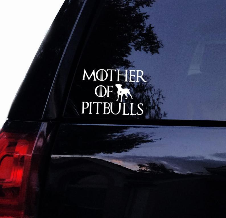 Schwarz/SliverMother von Pitbulls Text Auto Aufkleber Wasserdicht Aufkleber Auto Styling Zubehör Fenster Decor S670