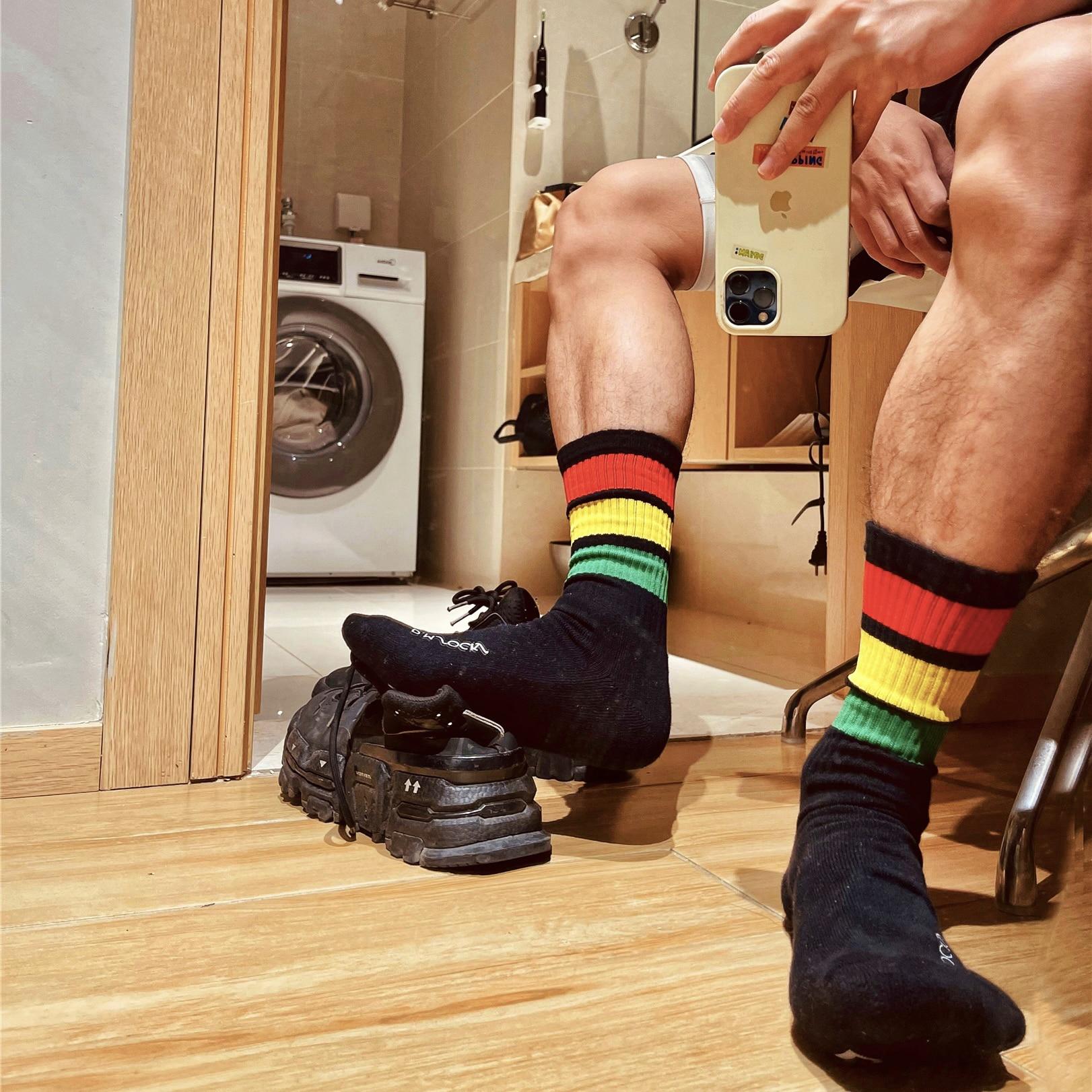 Модные красные радужные полосатые черные носки гей верх Верх Низ сексуальные мужские спортивные футбольные уличные удобные Свадебные носк...