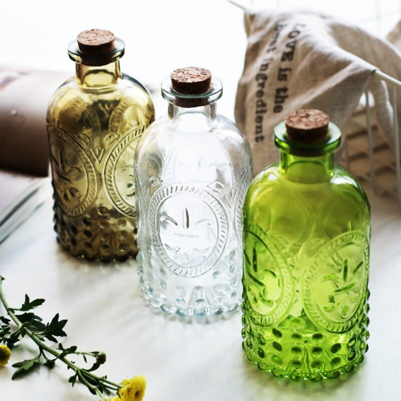 Retro Glass Vase Carved Cork Decorative Glass Bottles Tabletop Bud Vase Centerpiece for Wedding Reception Home Decor 250ML