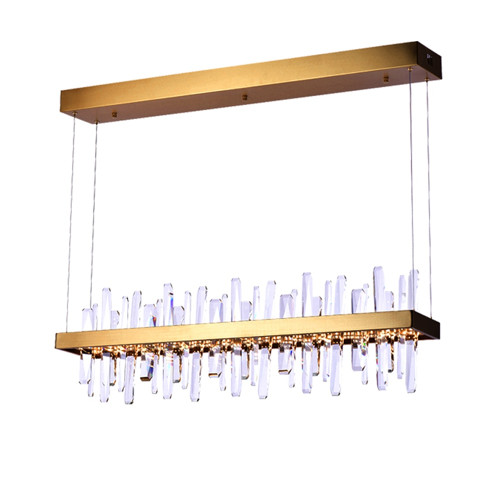 Candelabro de Cristal de diseño Rectangular para comedor, lámpara LED colgante moderna,...
