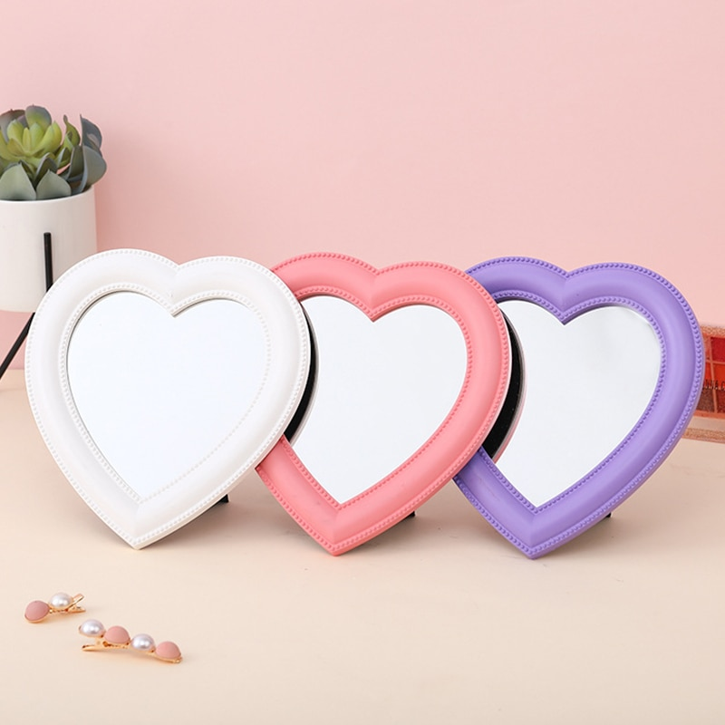 Heart-shaped Mirror Desktop Makeup Mirror Decorative Glass Lens Wall Mounted Mirror Beauty Makeup To