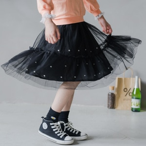 2020 New Autumn Fashion Beading Teens Kids Girls Skirts Princess Party Long Skirt Children Girl Clothing Black Spring Summer