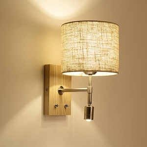 Nordic Wooden LED Bed Wall Lamp Reading LED Wall Light Bedroom Living Room Aisle Balcony Simple Lighting Fixture Corridor