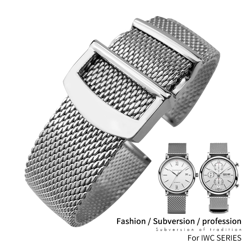 20mm 22mm High Quality Stainless Steel Watchband Replacement for IWC Pilot Mark18 Watch Strap Silver
