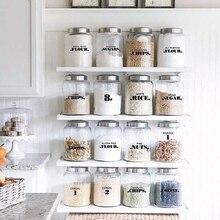 Casa de campo despensa etiquetas 6 folhas transparente à prova dwaterproof água despensa adesivos comida jar rótulos para despensa organização suprimentos cozinha