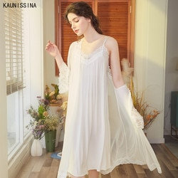 Robe romântico camisola conjuntos de roupa de noite feminino outono verão robe conjunto manga longa sexy sleepwear robe doce princesa homewear