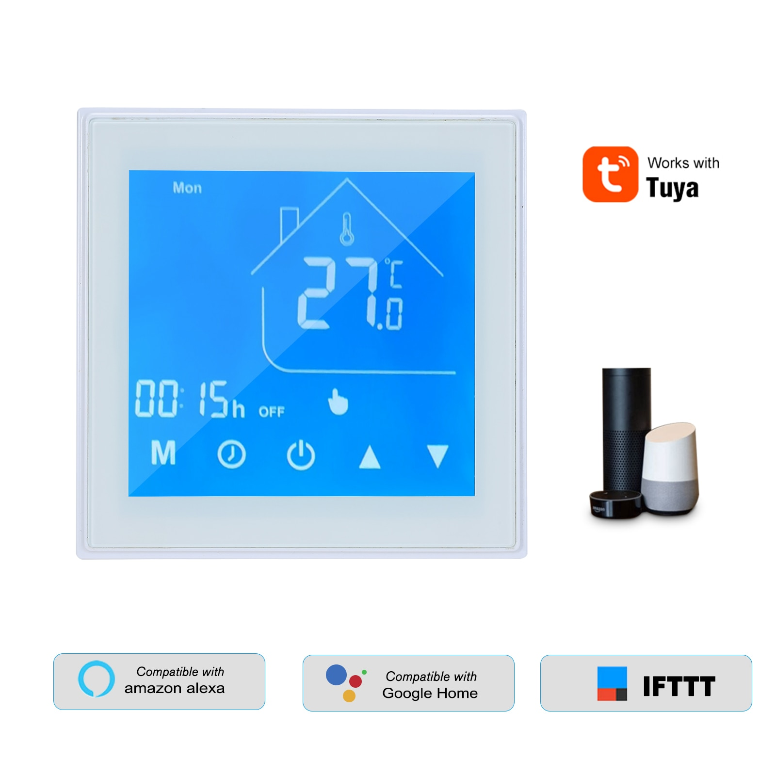 واي فاي الذكية ترموستات تحكم في درجة الحرارة الأسبوع للبرمجة الكهربائية تحت البلاط التدفئة مع تويا APP التحكم أليكسا جوجل