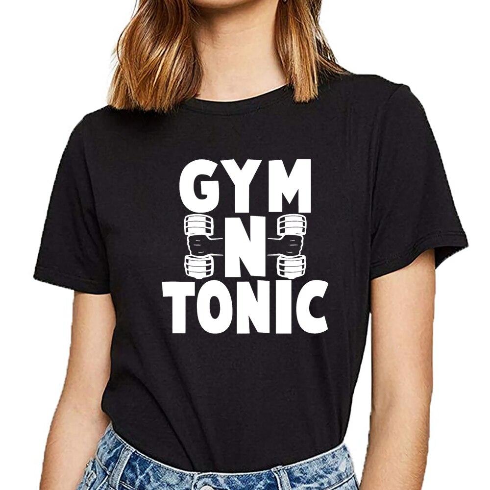 Tops T Shirt Women gym n tonic workout exercise gym fitness Summer Harajuku Custom Female Tshirt