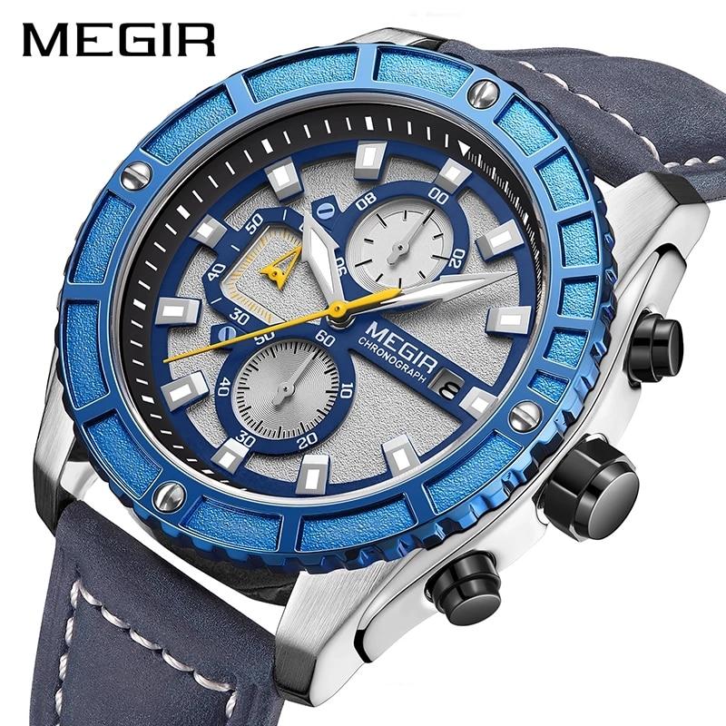 MEGIR-ساعة رياضية زرقاء للرجال ، مقاومة للماء ، مضيئة ، مع كرونوغراف وحزام جلدي