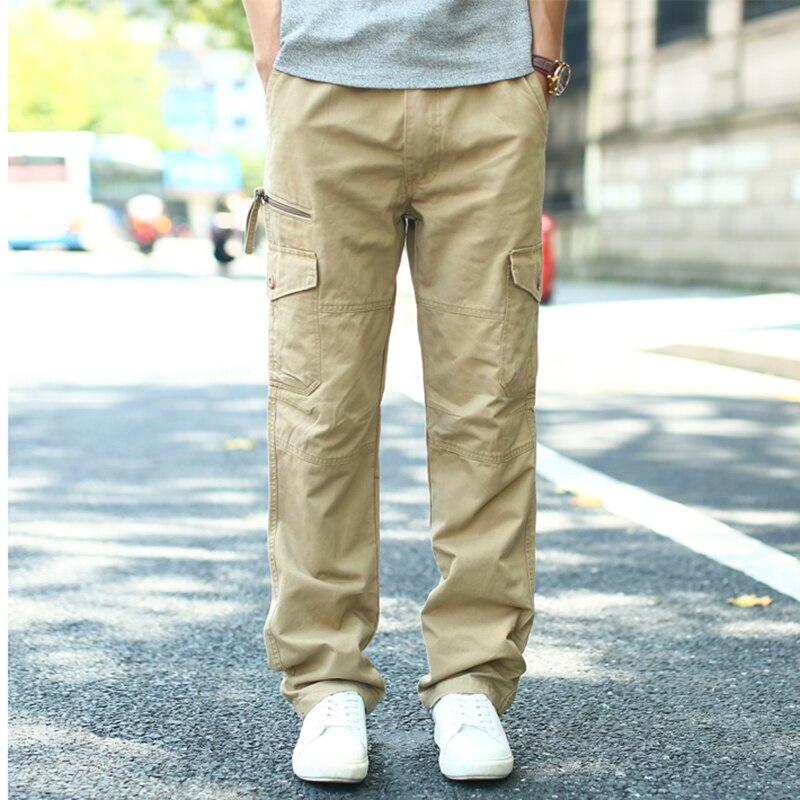 جديد وصول الشتاء الرجال البضائع سراويل تقليدية رجالي فضفاض حجم كبير سراويل قطنية مستقيم برميل متعدد جيب بلون السراويل