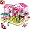 Blocs de construction pour enfants maison de ville Villa jardin Yacht amis briques créatives jouets éducatifs