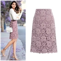 womens a line skirt lace elegant embroidery bottoms flower party attire pencil office lady skirt