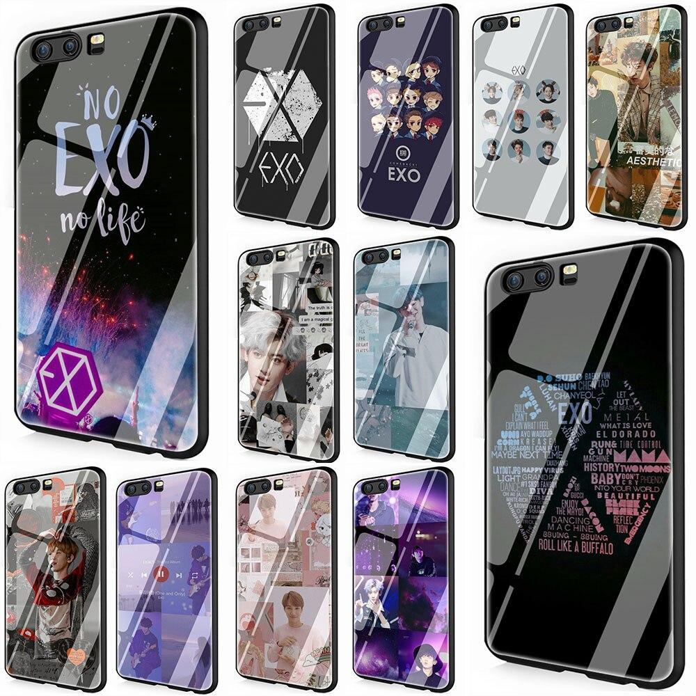 EXO band k-pop para Huawei P10 P20 P30 Y6 Y9 Honor 8X 7A pro 9 10 Lite Mate 20 Lite Pro funda protectora de vidrio templado para teléfono