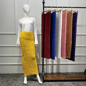 Woman Skirts Seamless Stretch Knitted Multicolor Buttocks Ankle-length Solid Color Skirt Muslim Fashion Abaya Dubai Abaya Turkey