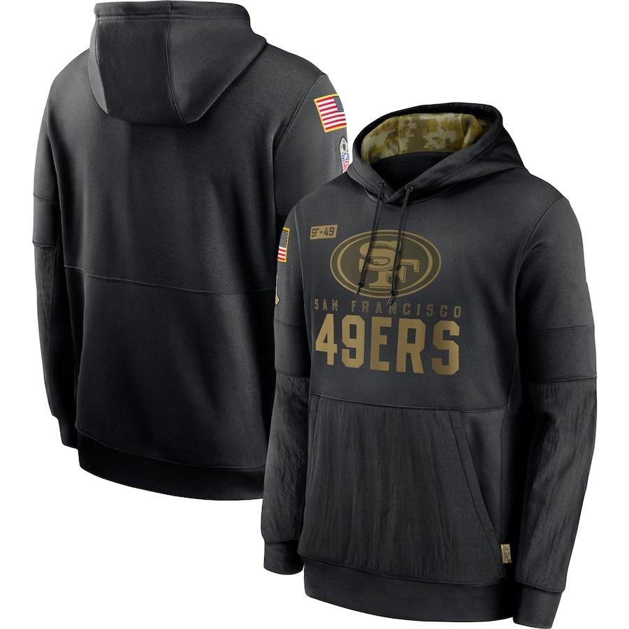 Мужская толстовка в стиле Сан-Франсиско 49ers 2020 Salute to Service Sideline, пуловер для выступлений, Футбольная толстовка с капюшоном, S-4XL