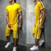striped 2019 summer new mens shorts casual suits sportswear mens clothing man sets pants male sweatshirt men brand clothing
