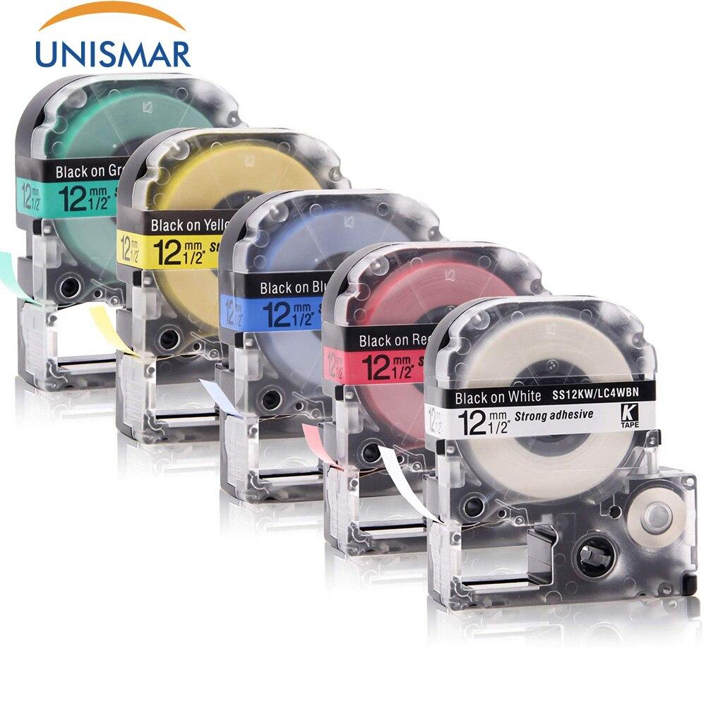 Unismar 5 шт. SS12KW SC12RW SC12YW SC12BW SC12GW Картридж Ленты для маркировки для Epson LabelWorks LW-300 LW-400 LW-500 LW-600P LW-700