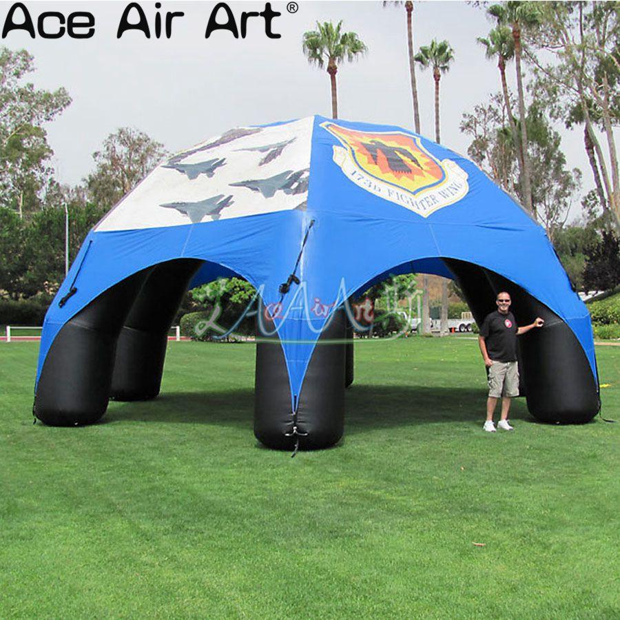 8 متر القطر مع 6 أعمدة الأزرق خيمة عنكبوت قابلة للنفخ نفخ أكشاك سرادق في الهواء الطلق قبة خيمة للحدث