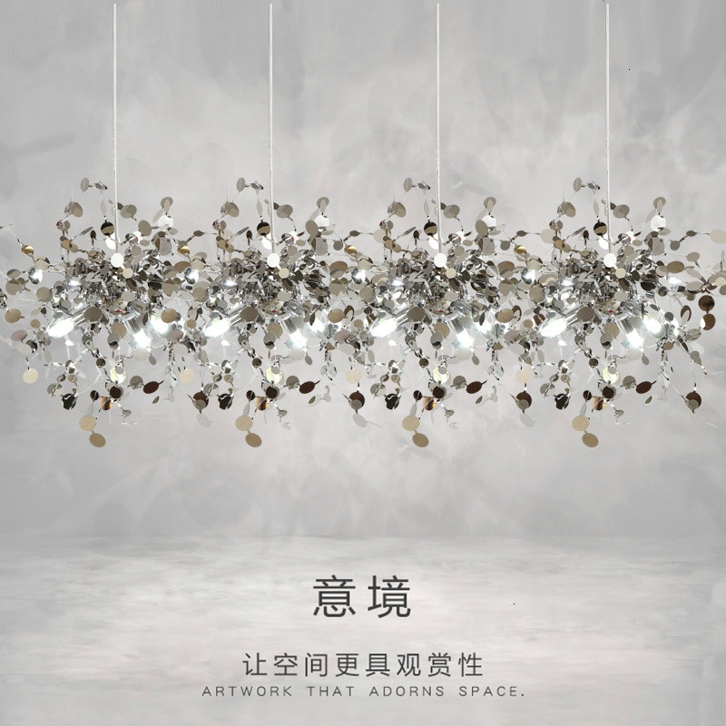 modern designer stainless steel slice chandelier living room dining room bar coffee shop dressing table decorative lamp