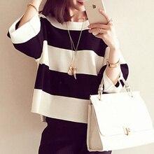 Camiseta de rayas blancas y negras para mujer, Camiseta holgada informal de media manga Coreana de verano 2020 para mujer, camiseta elegante de algodón para mujer