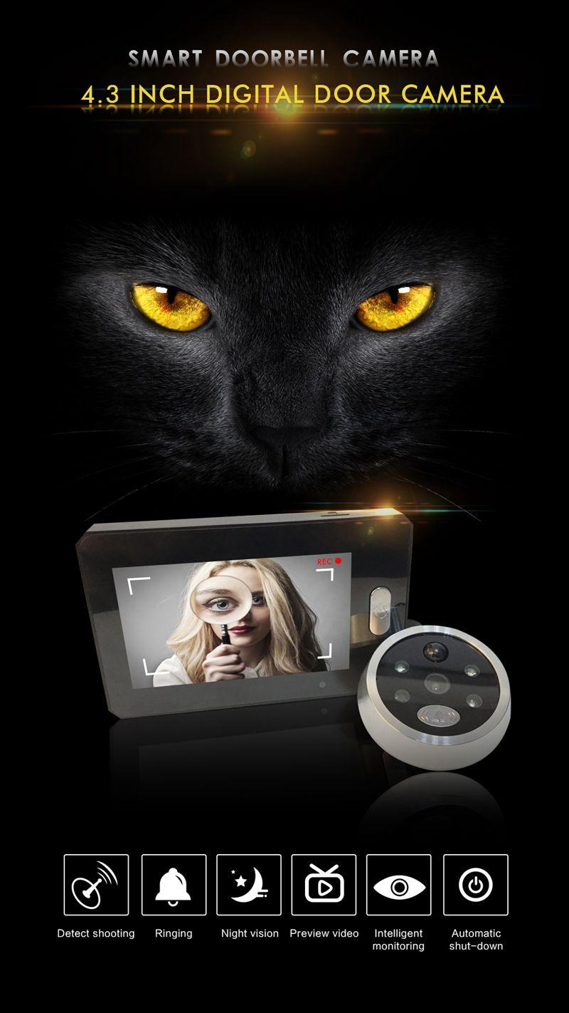 4.3 inch LCD Color Screen Digital Doorbell 140Door Eye Doorbell Electronic Motion Detect Peephole Door Camera Viewer Door Bell enlarge