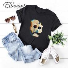 Elimiiya mignon guitare impression t-shirt femmes t-shirt col rond t-shirts crâne imprimé dessus de chemise vestidos 5XL vestidos de verano