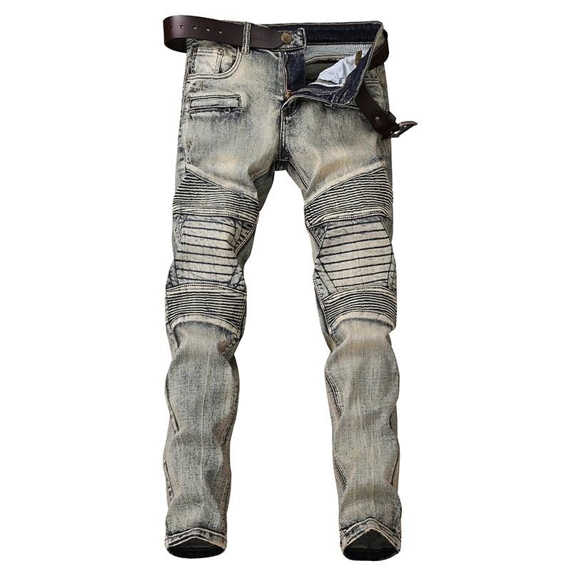 نحيل الجينز الرجال قاطرة جان أوم الدنيم Spijkerbroeken Heren السائق تمتد السراويل سليم صالح سروال Pantalon هومبر الأزياء