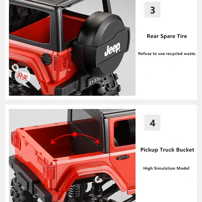 High Quality 2.4G Remote Control SUV Truck Model Land Rovers Defender Car off load climb Electric Charging Car with 3pcs battery enlarge