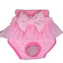 Bow hygiénique pantalon court animaux de compagnie sous-vêtements hygiéniques chiot coton mélange physiologique hygiénique court pour petits chiens