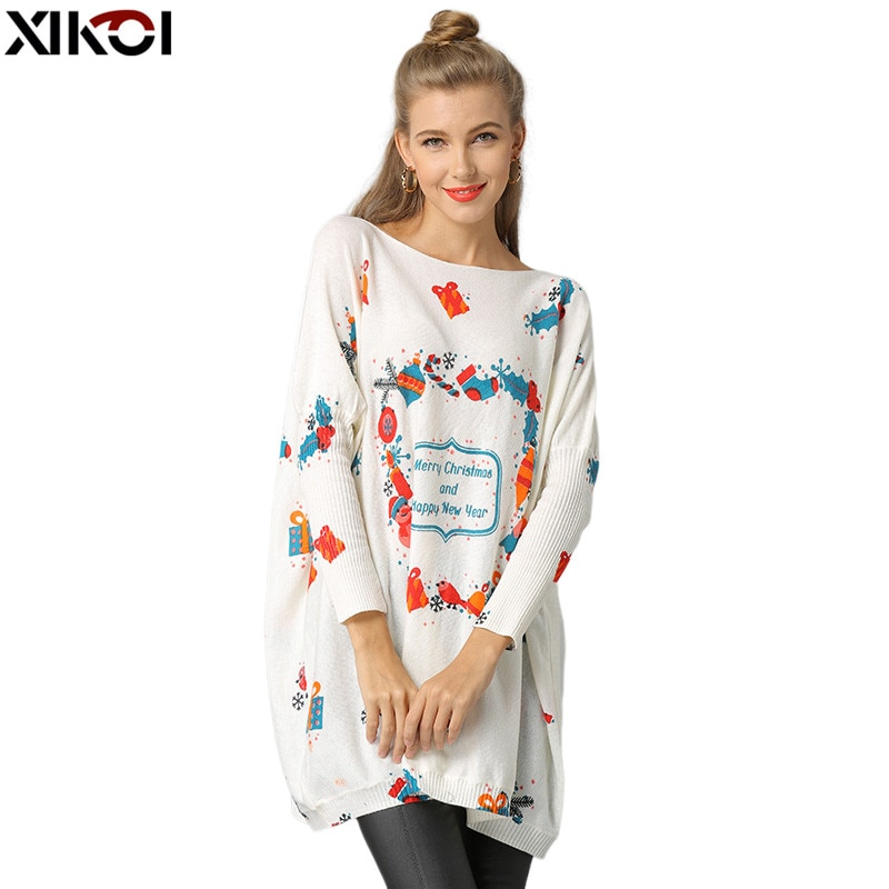 XIKOI-suéteres de punto de Navidad para Mujer, suéter de manga de murciélago...