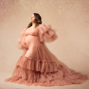 Gentle Puffy Sleeves Long Robe Maternity Dresses Pink Fluffy Baby Shower Wear Dress Photo Shoot Custom Made