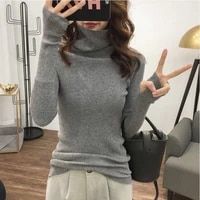 long sleeve pullover bottom knit 2021 spring autumn solid basic sweaters turtleneck elastic sweaters ladies all match sweater