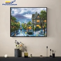 photocustom acylic pictures by numbers night bus paint on canvas coloring oil painting handpainted home decoration