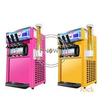 Commercial Soft Serve Ice Cream Machine Electric 16L/H 3 Flavors Sweet Cone Ice Cream Maker 110V/220V 1200W