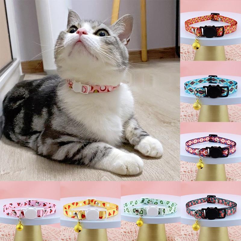 New Cute Fruit Print Cat Breakaway Light Collar with Pendent Pet Dog Neck Belt Collars Kitten Accessories Product