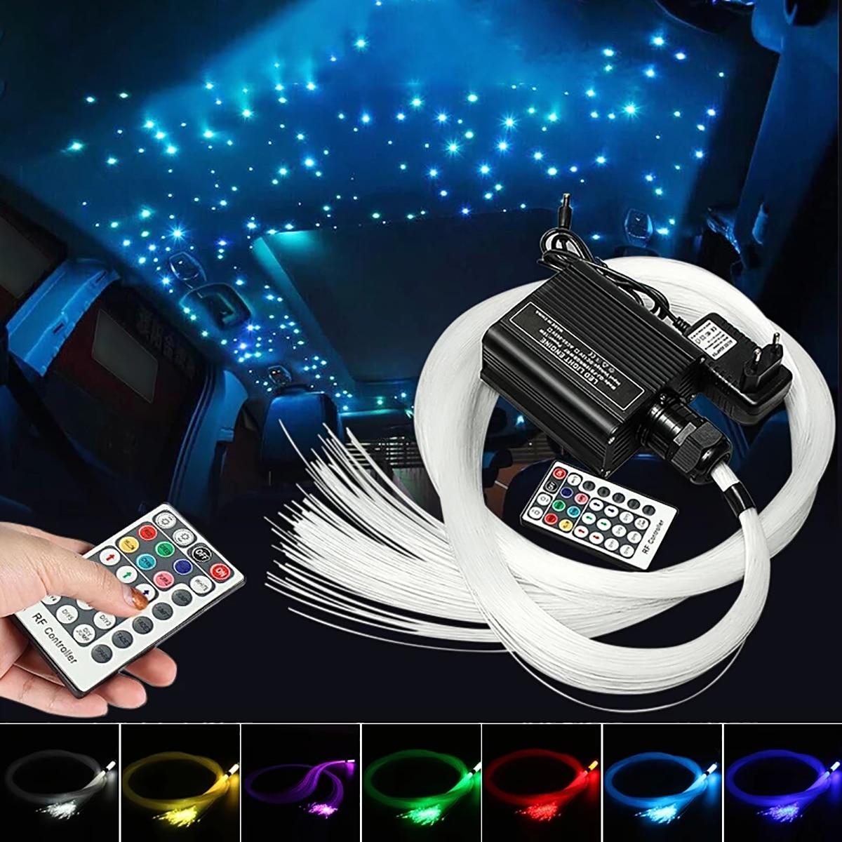 مصباح سقف LED مع جهاز تحكم عن بعد للسقف ، ألياف بصرية 16 وات ، 12 فولت ، 2 متر × 150 مللي متر ، موسيقى ، ضوء سقف السيارة ، مع كابل ، 0.75 قطعة