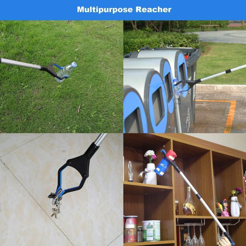 Pinzas plegables para recoger basura, herramienta de recogida, pinza sanitaria plegable con mango curvo, herramienta de agarre portátil para casa de calle