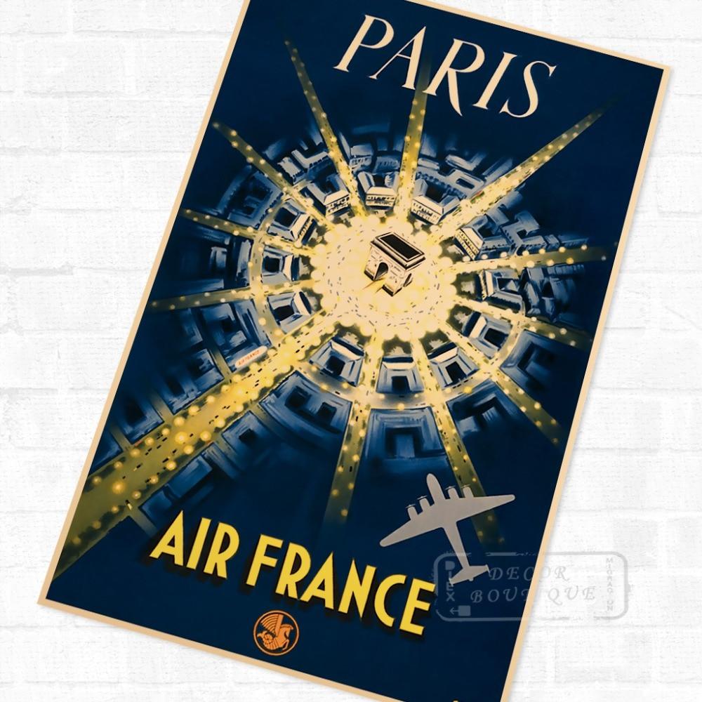 París póster de viaje-Air France paisaje Retro Vintage de póster lienzo pintura DIY pegatinas de pared pósteres casa Decoración Para Bar
