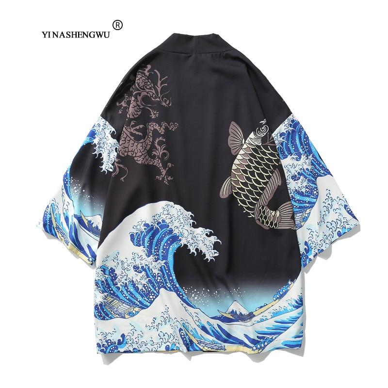 Yukata Kimonos Women Harajuku Cardigan Japanese Kimono Summer Carp Print Loose Shirt Tops Casual Woman Man Kimonos Coat Couple
