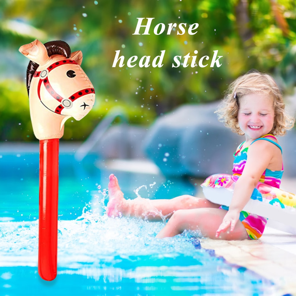 Kids Horse Riding Game Toy Multi-functional Classic Practical Outdoor Plaything Blow Up Inflatable Horse Head Stick