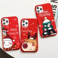 merry christmas new year elk santa claus phone case candy color for iphone 6 7 8 11 12 s mini pro x xs xr max plus