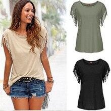 Frauen Baumwolle Quaste Casual T-shirt Ärmel Einfarbig Tees Kurzarm Oansatz frauen Kleidung t shirt heiße verkäufe in 2019