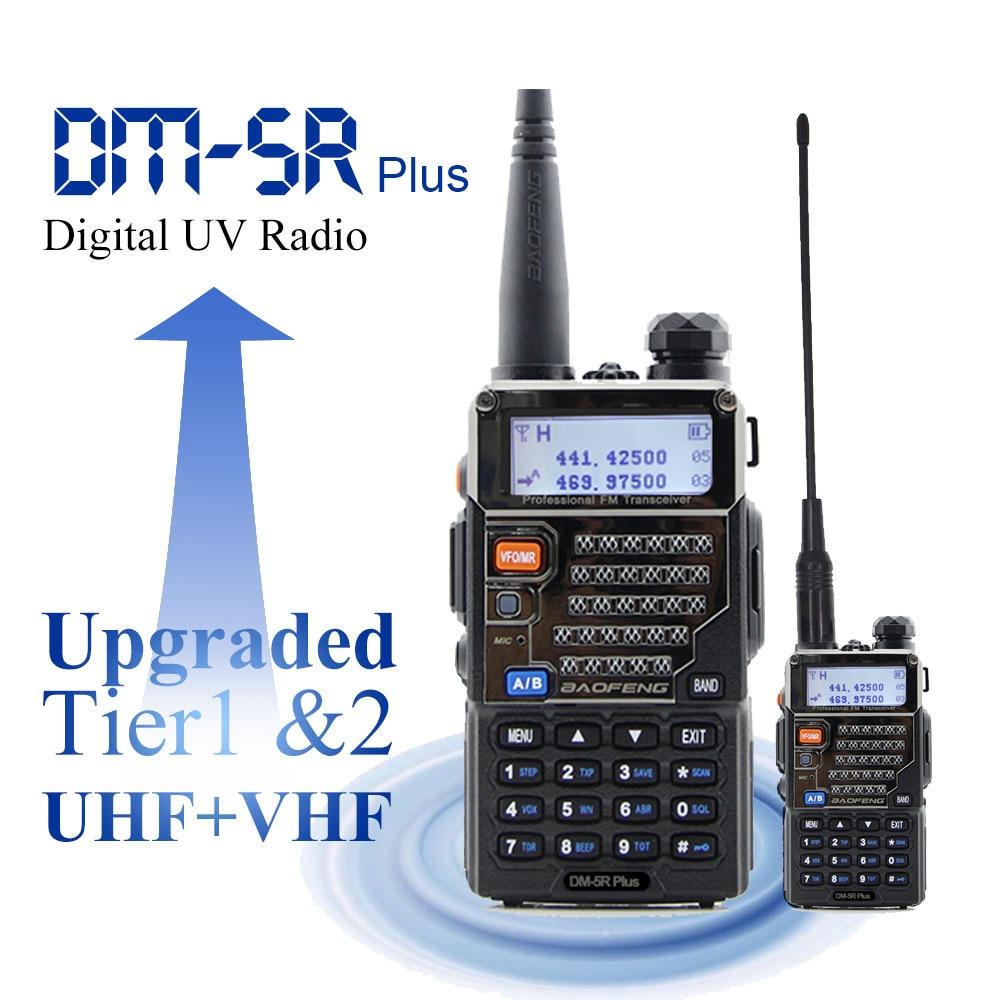 Baofeng الرقمية هام راديو DM-5R زائد المزدوج الفرقة 136-174 و 400-480MHz المحمولة DMR محطة راديو Baofeng اسلكية تخاطب 2000mAh