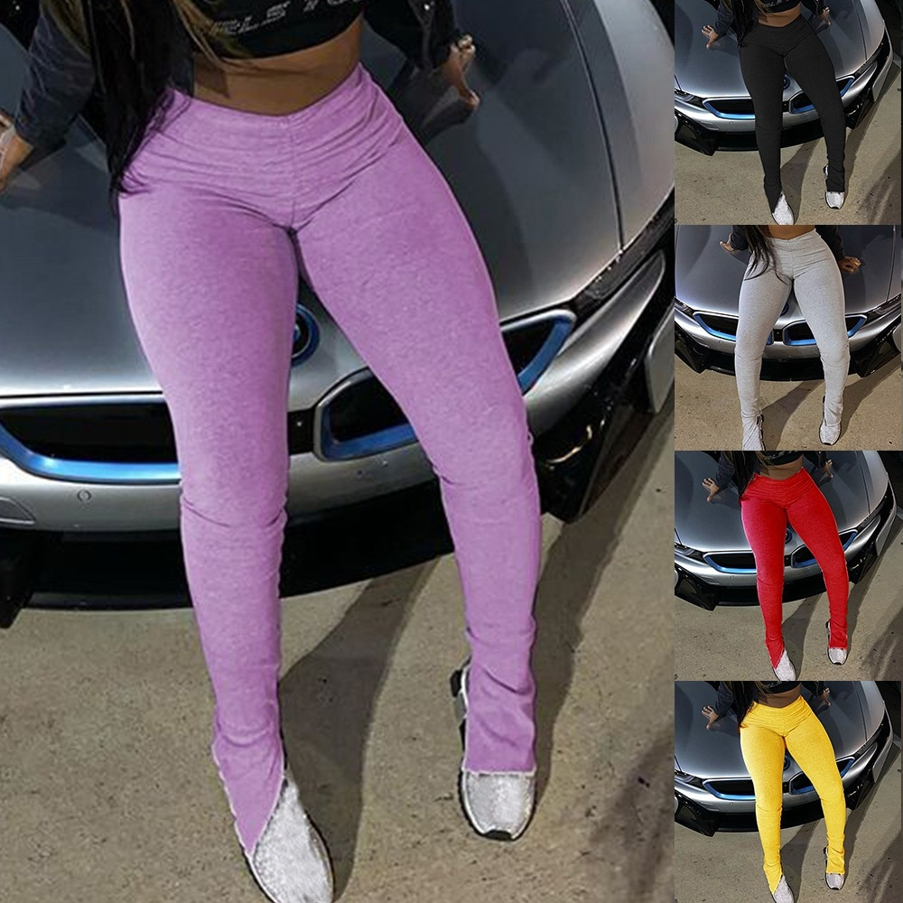 Sweatpants Women Flare Pants Ladies Stacked Joggers Pleated High Waist Trousers Split Bell Bottom Pants Female
