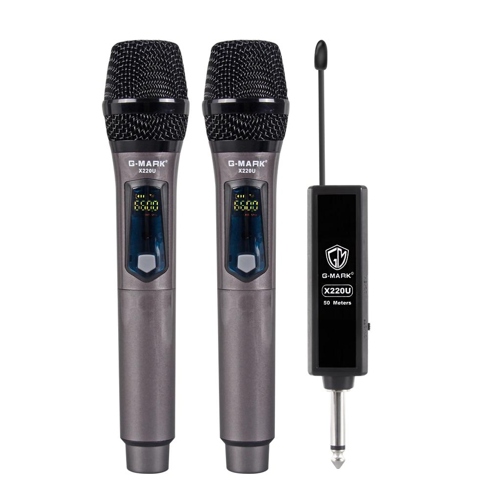 G Mark X220u Uhf Wireless Microphone Recording Karaoke Handheld 2 Channel Lithium Battery 50m Receiving Distance Microphones Aliexpress