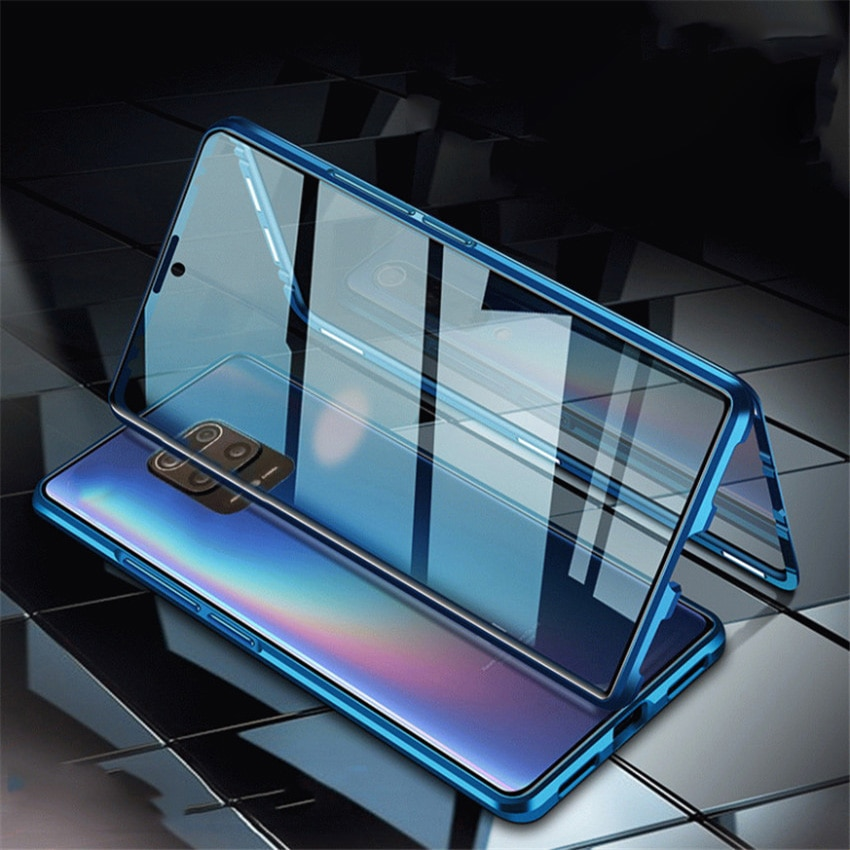 Funda de parachoques de Metal magnética de cristal completo para Xiaomi redmi note 9 s, funda trasera de cristal templado para Redmi note 8 8t 9 s pro
