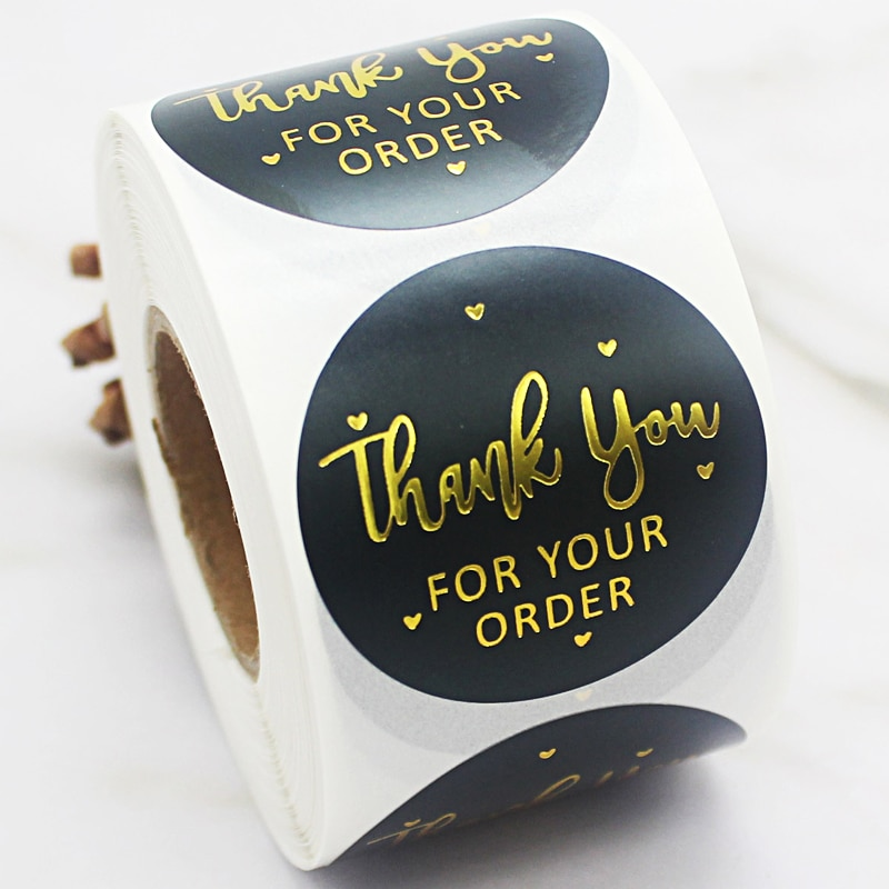 500pcs/roll Golden Thank You Stickers Handmade Sticker Circle Thank You for Your Order Seal Labels  Sticker 500pcs pack thank you stickers gloss stickers round stationery thank you for your order seal labels thank you sticker
