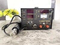 saike 909d soldering iron 220v 110v hot air gun stationsoldering irondc power supply 3in1 electric rework station adjustable