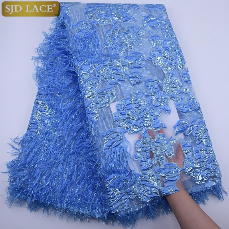 SJD LACE-قماش دانتيل أفريقي فرنسي ، مع ريش ناعم ، شبكة نيجيرية ، تطريز دانتيل لفستان السهرة A1789